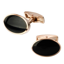 High quality fashion men's shirts Cufflinks Black Enamel Cufflinks Gold Oval brass material wholesale and retail