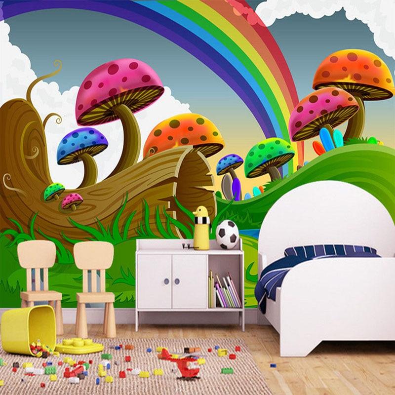 Custom Photo Wallpaper 3d Cartoon Cute Mushroom Rainbow