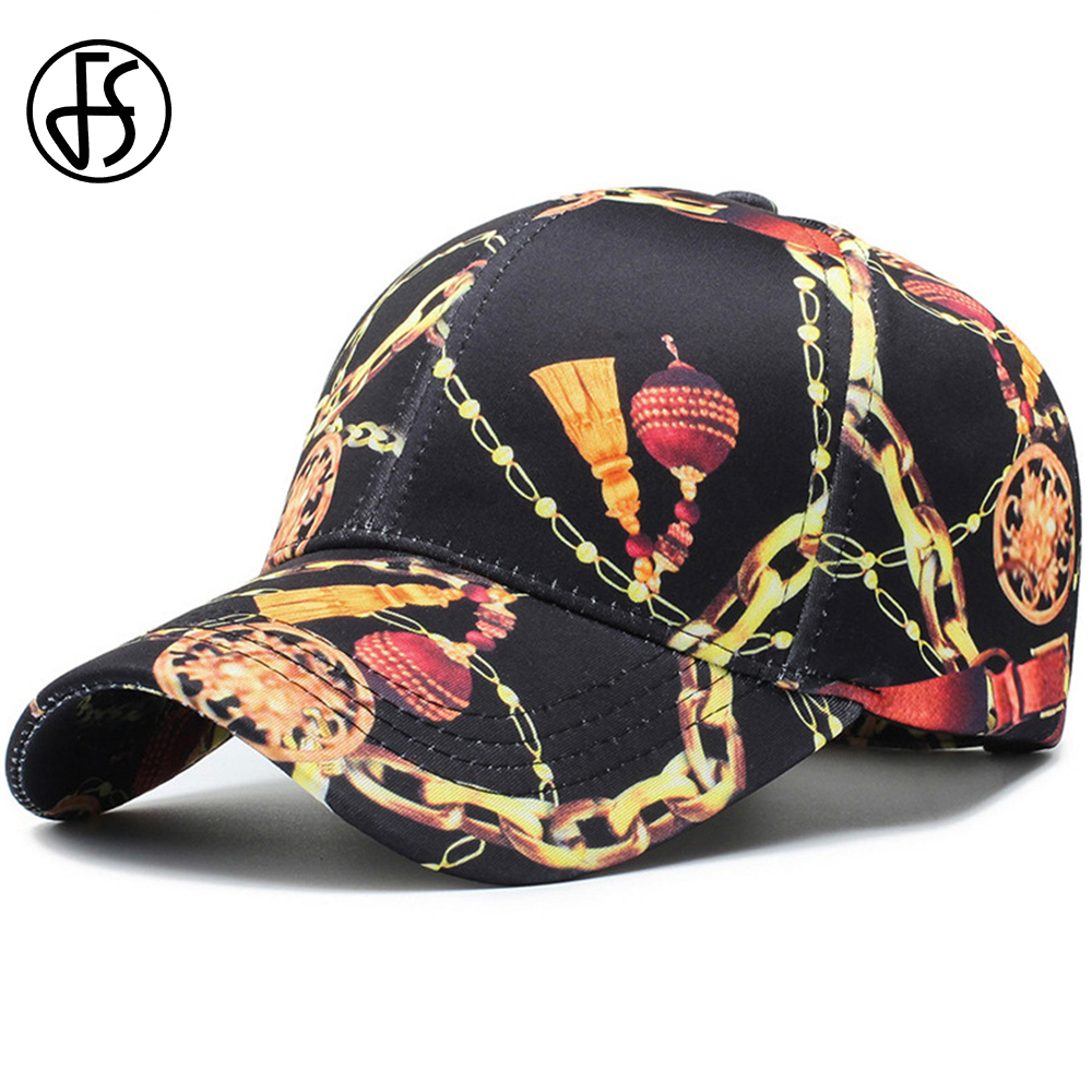 FS Women Men Lantern Chain Print Cappellino Baseball Caps Cotton Outdoor Fashion Snapback Trucker Cap Black Gorras Hombre