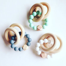 Silicone Teething Chew Beads Bracelet Natural Round Wood Hexagon Wood Teething Beads Baby teether Gift for baby girl boy