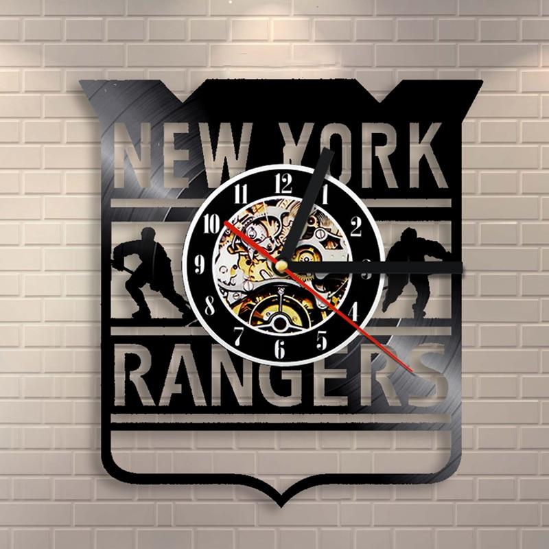 separation shoes 08701 1df52 US $21.44 |New York Rangers NHL Team Logo Vinyl Record Clock Modern Design  Antique CD Hanging Clock Creative Handmade Home Decor LED Clock-in Wall ...