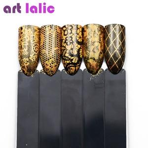 Image 3 - 16 デザイン/セットゴージャスなゴールドカラー箔のヒントの装飾マニキュアツールマジックレーザーネイルアート転送星空ステッカーデカール