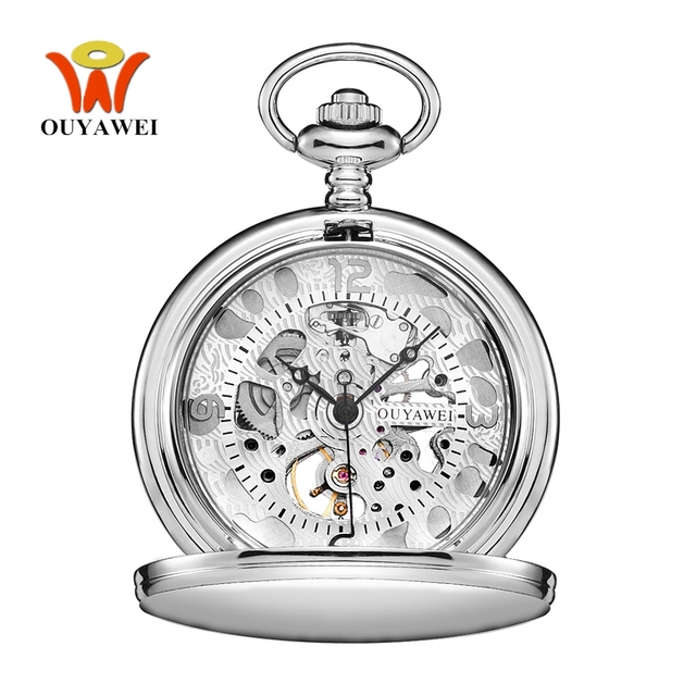 New OYW Brand Hand Wind Mechanical Silver White Pocket Watch Men Fashion Skeleto