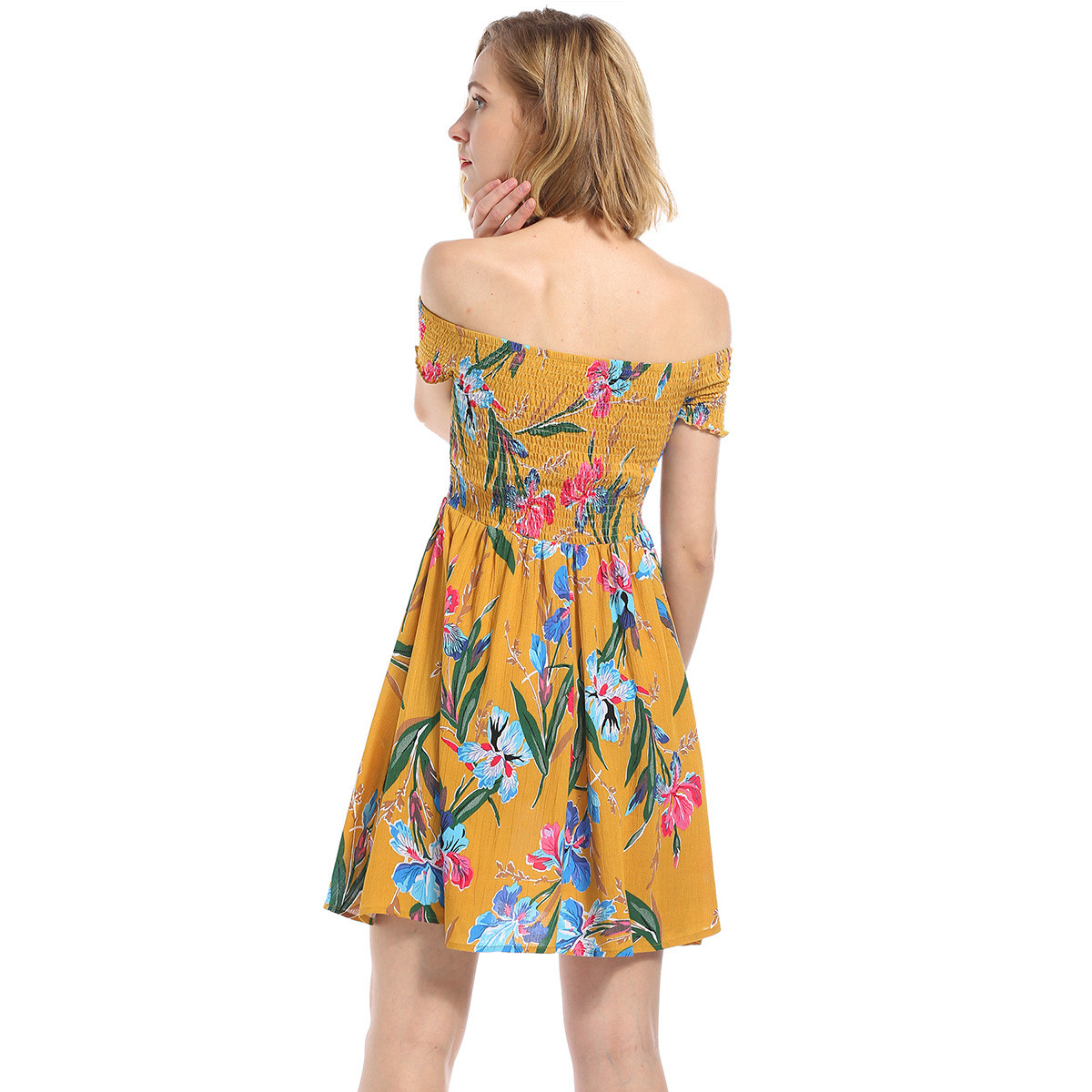 Aphrodite Home Y Folds Off Shoulder Summer Dress Women Flower Print Short Casual Beach Female Yellow A Line In Dresses From S