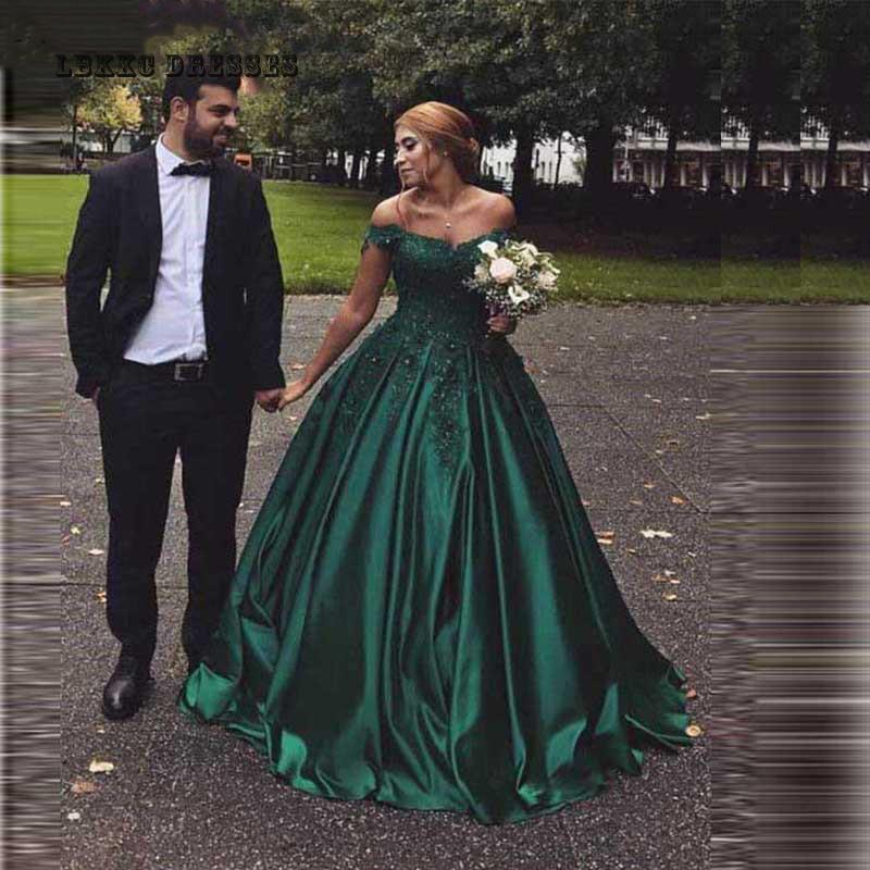 Elegant Kaftan Green Satin Evening Dresses Ball Gown Lace Turkish Evening Gowns 2019 Long Robe De Soiree Formal Dress Morocco