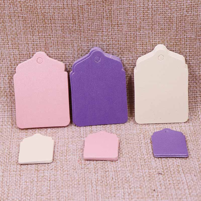 100Pcs Wedding Favourate Tag Purple/Pink/Beige/White/Black/Vintage Colour Shinning And New Design Garment Label Paper Tag For