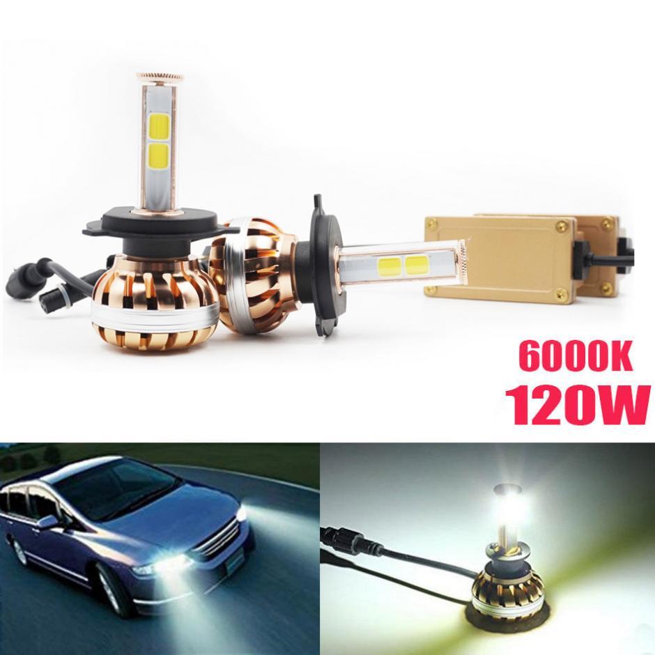 ФОТО NEW 2x H4 120W LED Fog Light Bulb Headlight Kit 12000LM 6000K Auto Birne Lampe Licht