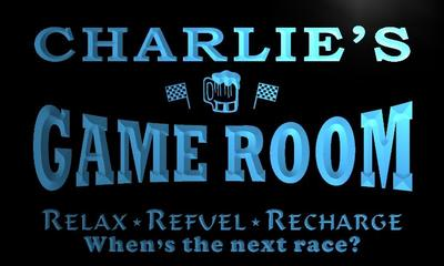 x0196-tm Charlies Pitstop Game Room Custom Personalized Name Neon Sign Wholesale Dropshipping On/Off Switch 7 Colors DHL