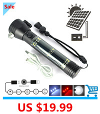 Multifunction-XPE-Solar-LED-Flashlight-Rechargeable-Portable-Torch-Light-Safety-Hammer-Compass-Magnet-Power-Bank-Functions