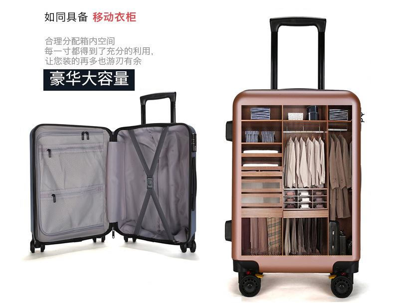 ZYJ Travel Trolley Luggage Men Women Alloy Business Solid Rolling Scratchproof Airplane Suitcase Luggage Spinner Wheels Trunk (2)