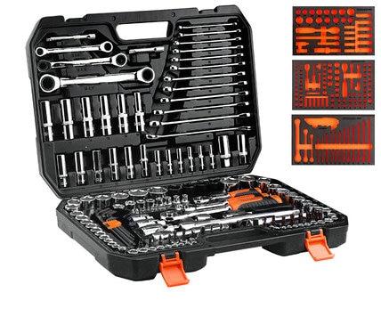 150 stks 1/2 3/8 1/4 Draagbare multifunctionele Hardware Tool Set Ratel Quick Socket Schroevendraaier Auto reparatie Combinatie Toolbox