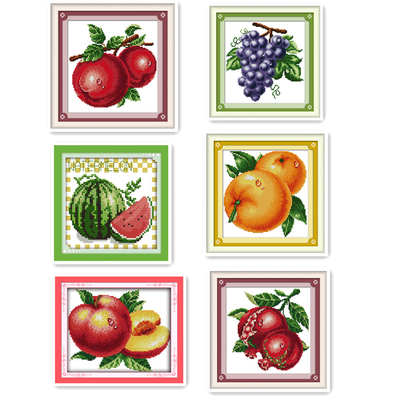 Mini small size variety of fruit DIY cross stitch orange grape peaches apple watermelon and other handmade embroidery needlewor