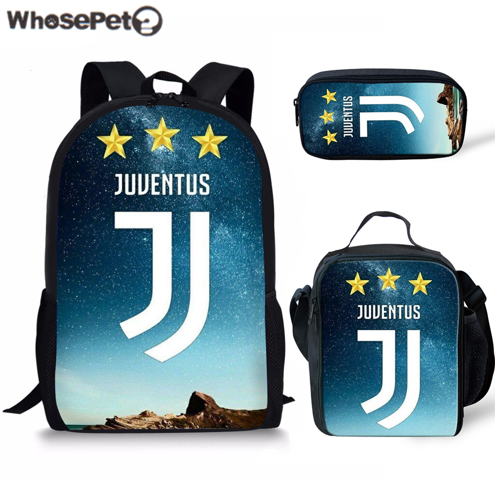 Whosepet 3pcs/set Ronaldo Juventus 2019 School Bags For Kids Boys School Backpacks Shoulder Bagpack Children Bookbag Satchel