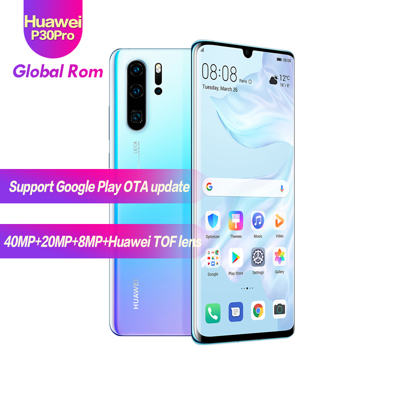 ROM mondial HUAWEI P30 Pro 8GB 512GB téléphone portable plein écran NFC Smartphone Octa Core barre Android FHD + Kirin 980 5 caméras