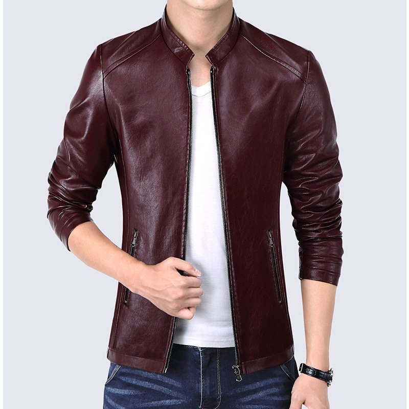 Spring Men Fashion New Pu Leather Jackets Coats Men's Autumn Stand Collar Smart Casual Overcoats Outwear Size M-4XL