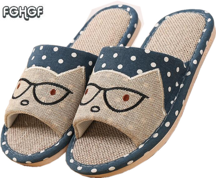 Flax Funny adult Slippers Women House Shoes Indoor Pantufas Cute Bedroom Slippers Home Lovers Chaussons zapatillas casa mujer