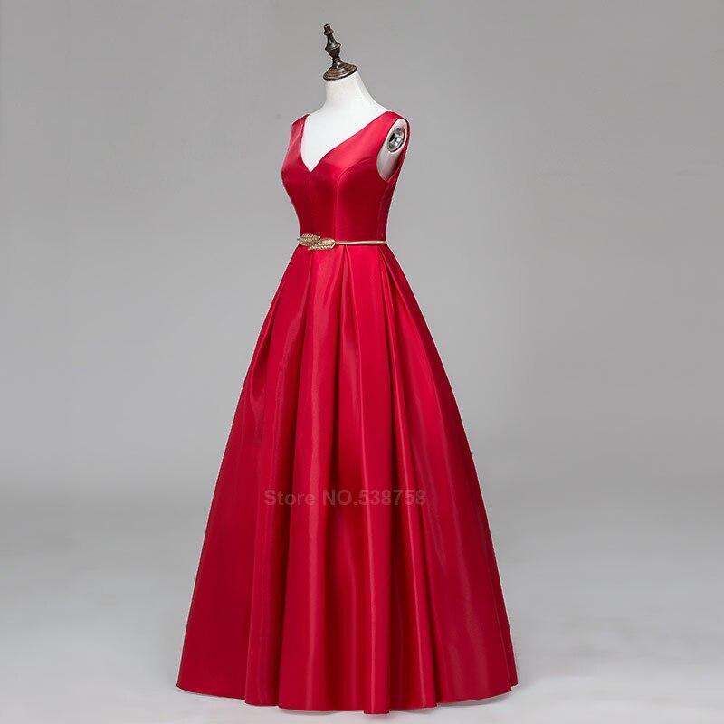 V-cou Double épaule robe de bal longue a-ligne rouge élégant tache formelle soirée robes robe de soirée livraison gratuite - 4