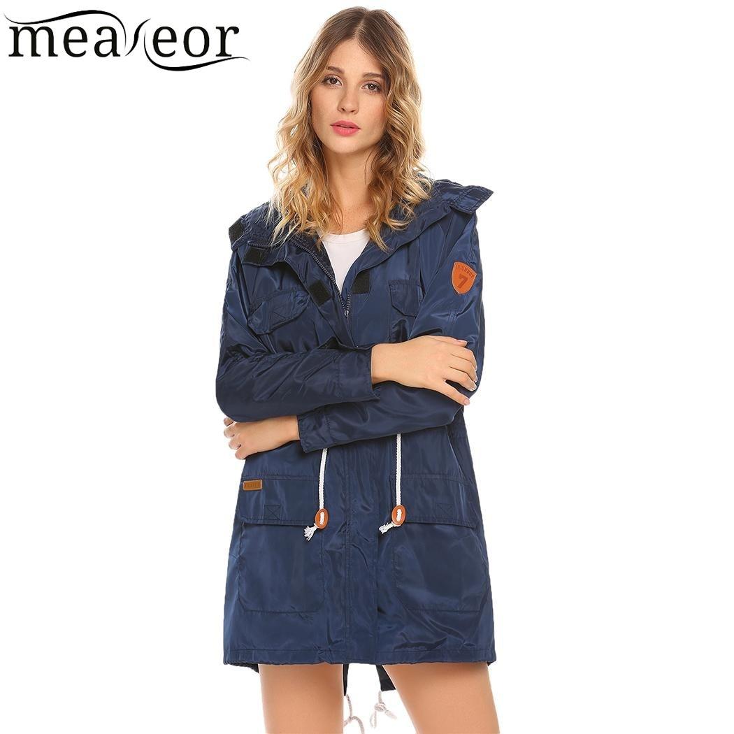 Meaneor Women Detachable Hooded Lightweight Jackets Casual Long Sleeve Slim Waist Drawstring Jacket Pockets Autumn Warm Coats