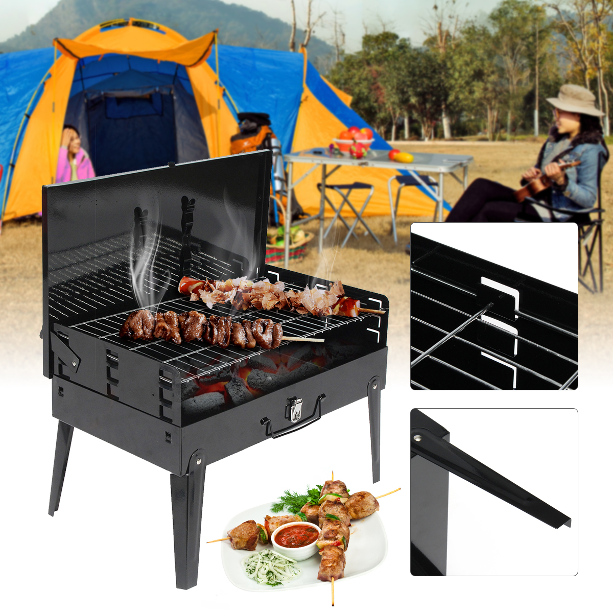 Charcoal Bbq Us 36 84 45 Off Portable Bbq Barbecue Grills Burner Oven Outdoor Garden Charcoal Barbeque Patio Party Cooking Foldable Picnic For 3 5 Person In Bbq