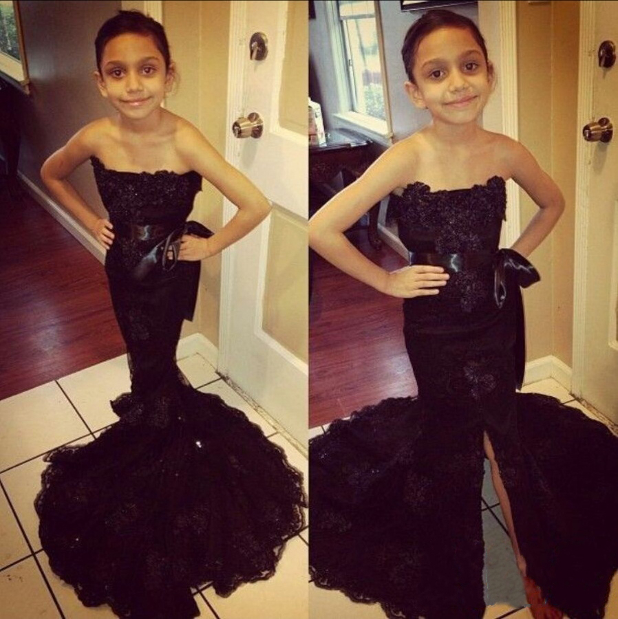 black Lace Mermaid Little   Girl   Pageant Gowns Little   Girl   Prom   Dresses   Strapless Floor Length   Flower     Girl     Dresses   2016