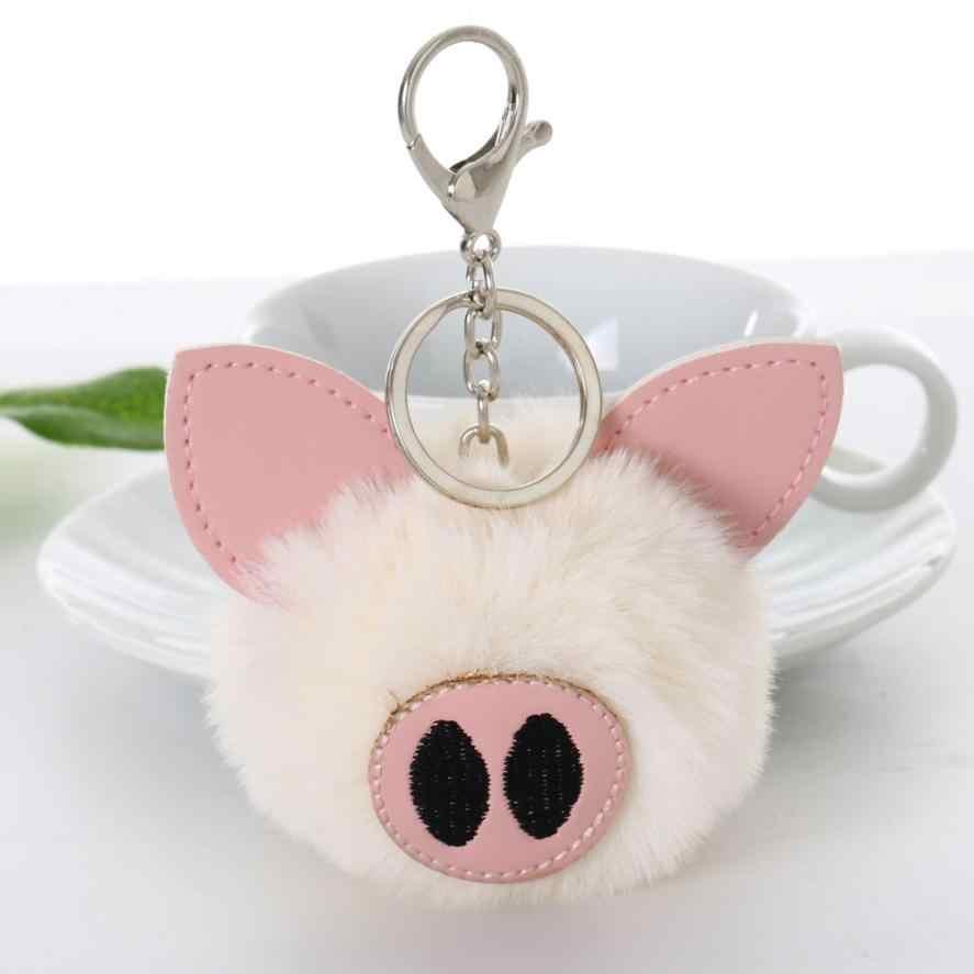 GEMIXI imitación Bola de pelo de conejo pompón lindo cerdo coche colgante llavero cadena 15cm 4,20