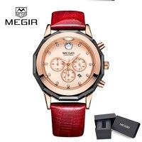 2018 Megir 2042 Watches Women Casual Leather Quartz watch Lady Dress Watch Women's Analog wristwatch relogios feminino Gifts