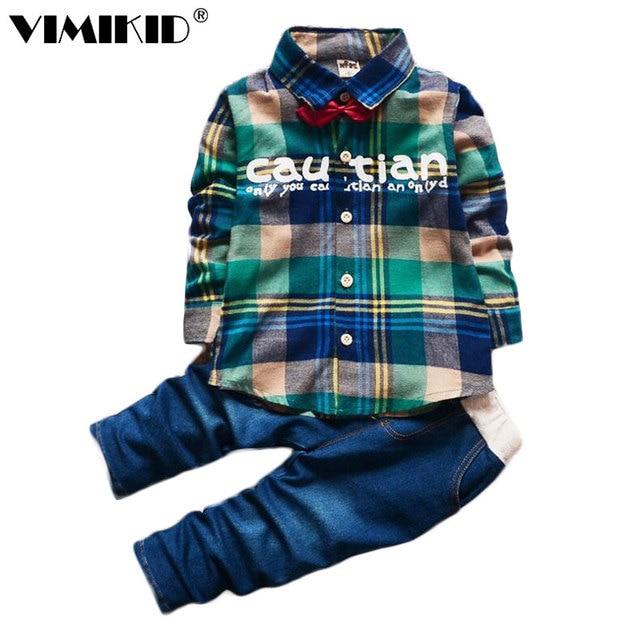 11a6fafc1e6578 2018 frühling Kinder Kleidung Set Junge Warme Kleidung Sets kinder Mode  Karierten Anzug Jungen Kleidung Baby