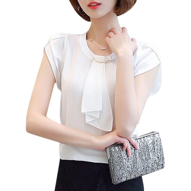 Women Chiffon Shirt Short Sleeve O Neck Slim Blouses Shirts for Office Ladies