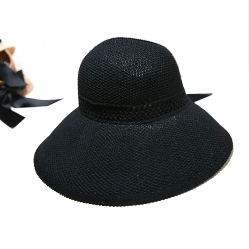 Fashion Sun Hat women hat Foldable Breathable Empty Top Hat Women Summer Travel Sunscreen Hats Wide Brim Beach Caps With Bowknot in Women 39 s Sun Hats from Apparel Accessories