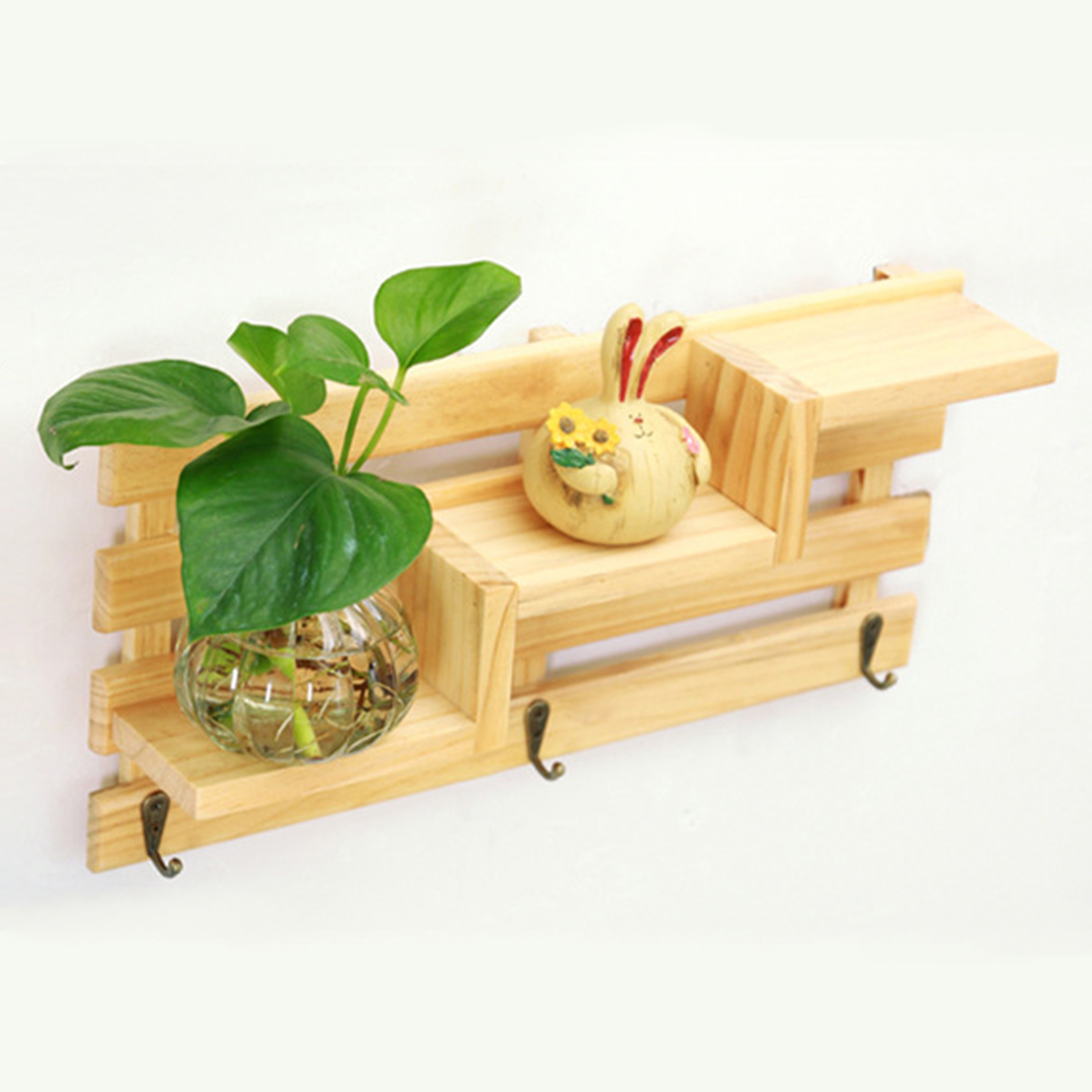 Three Layer Wooden Storage Boxes Rack Wall Hanger Sundries Key ...