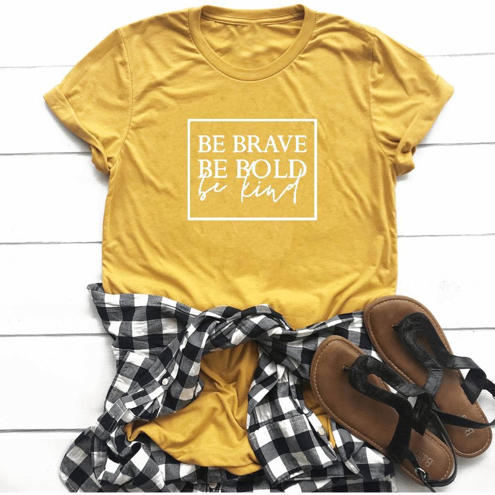 Bądź odważny bądź odważny bądź miły damski chrześcijański t-shirt slogan moda unisex grunge tumblr koszulka casual koszulki tumblr biblia tee top 5