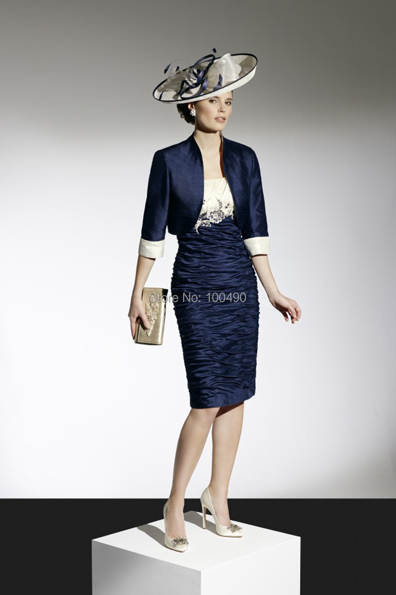 da3bd205882 2015 Custom Made New Applique Satin Short Navy Blue Mother of the Bride  Dresses With Jacket Bolero Mother Dress Plus Size DS052-in Mother of the  Bride ...