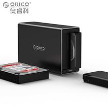 ORICO 2 Bahía de Aluminio caja para Disco Duro HDD Muelle Recinto USB3.0 a SATA3.0 3.5 en Caso de Poder 12V4A UASP Apoyo MAX 20 TB HDD capacidad