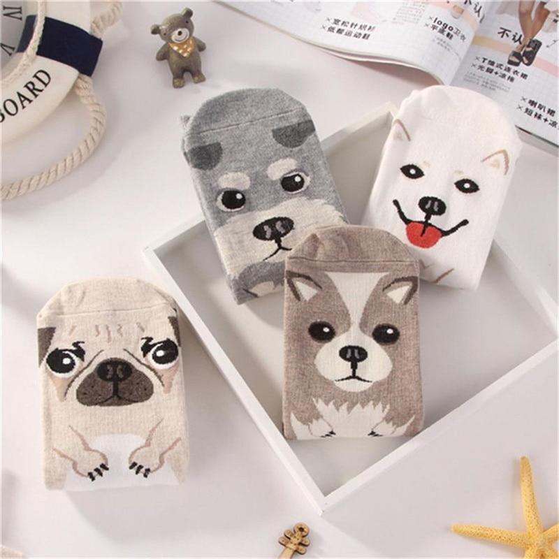 Fashion Cotton Socks For Women Cute Cartoon Dog Printed Funny Socks Kids Autumn and Winter Knitted Socks