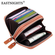 EASTNIGHTS Genuine Leather Rfid ID Card Holder Women Credit Visit Cover Men Business Small Holders  TW2720