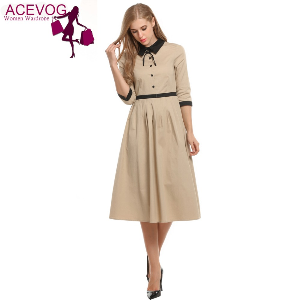 ACEVOG Women Half Sleeve Casual Big Swing Dress Turn Down Collar Vintage Style Bow Patchwork Button OL Pleated Dress Red/Khaki