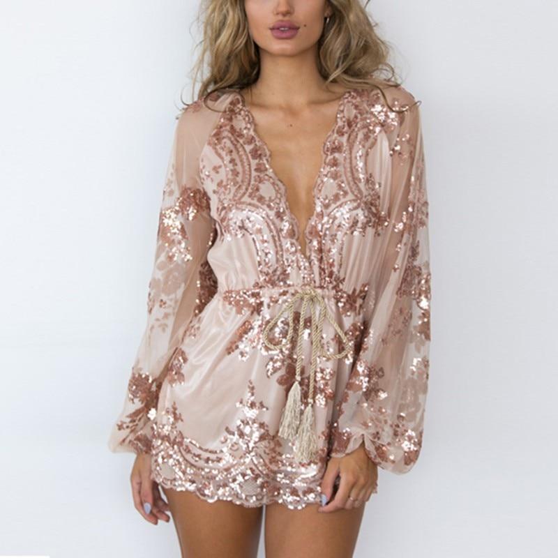Elegant Gold Sequin Embroidery Jumpsuit Romper Transparent Long Sleeve Playsuit Women Deep V Neck Overalls