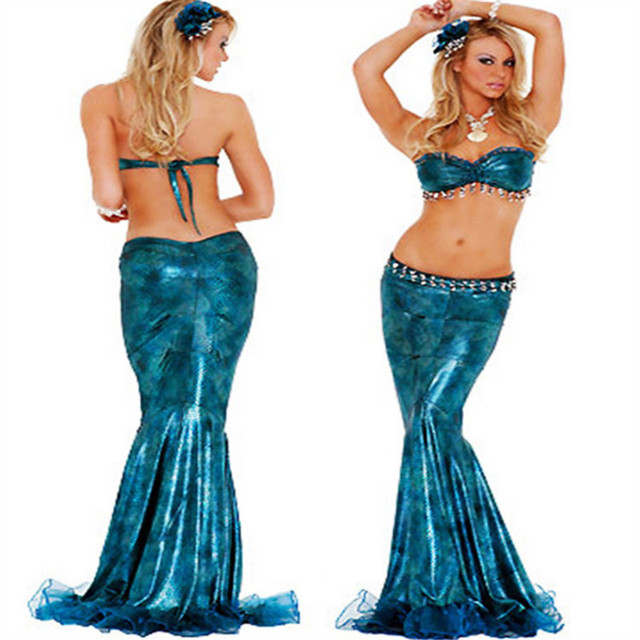 Newest Deluxe blue Mermaid Dress Halloween Sexy fish animal Cosplay Costume  Ariel Princess Costumes Masquerade Party clothing 93679c489415
