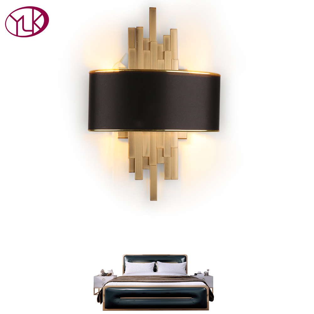 Youlaike Gold Wall Sconces Lighting Fixtures Bedroom Living Room Black Lampshade Wall Lamp AC90 260V LED