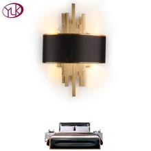 Youlaike золотые настенные бра освещение светильники Спальня Гостиная Черная настенная лампа с абажуром AC90-260V светодиодный настенный светильник