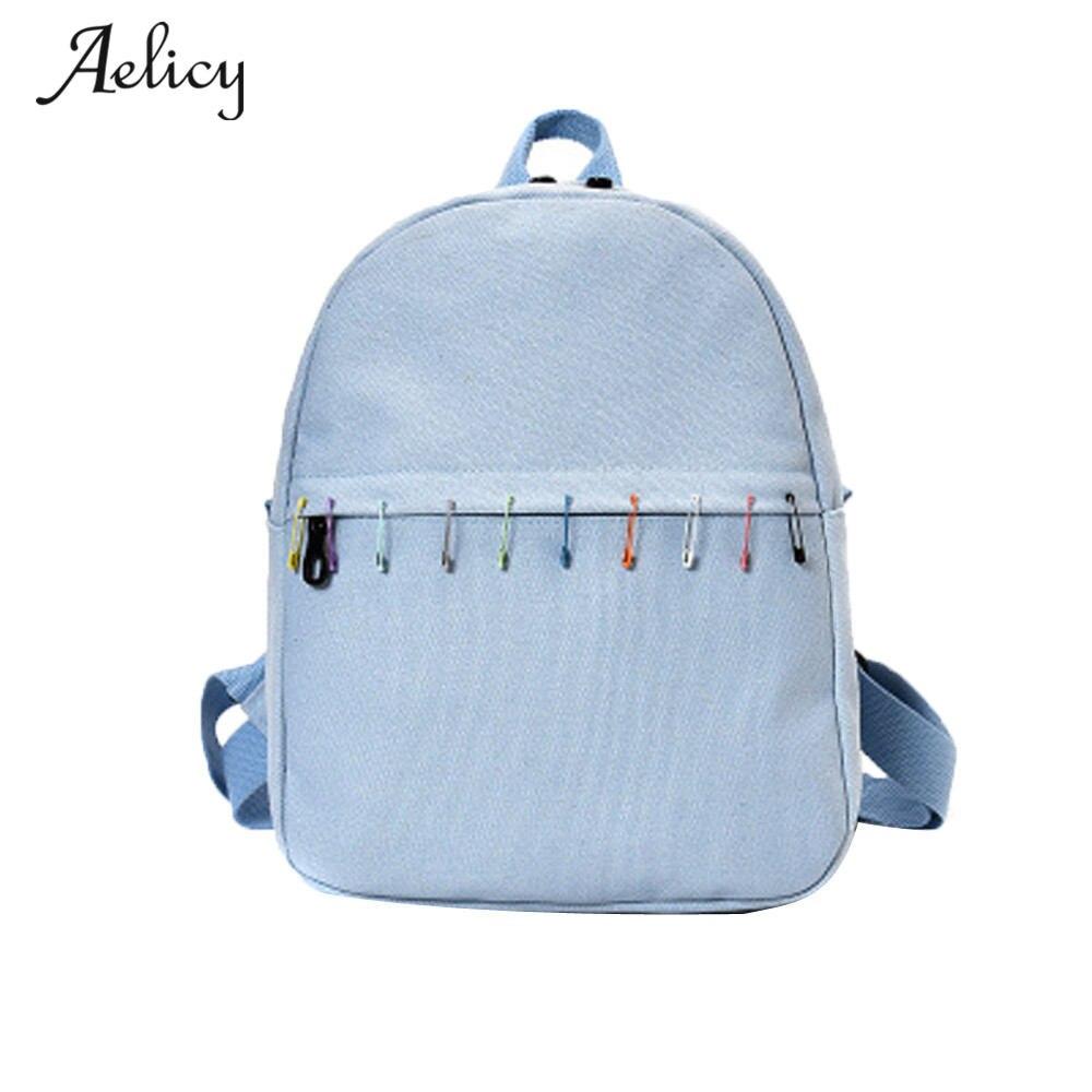 Aelicy Canvas Solid School Bag Backpack For Women Young Girl Mochila Feminina Mini Women Teenagers Casual Rucksack Travel Bags