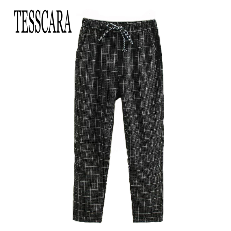 TESSCARA Brand New Fashion Women Casual Pants Clothes Print Plaid Female Harem Pants Loose Cheap Clothing  Plus Size