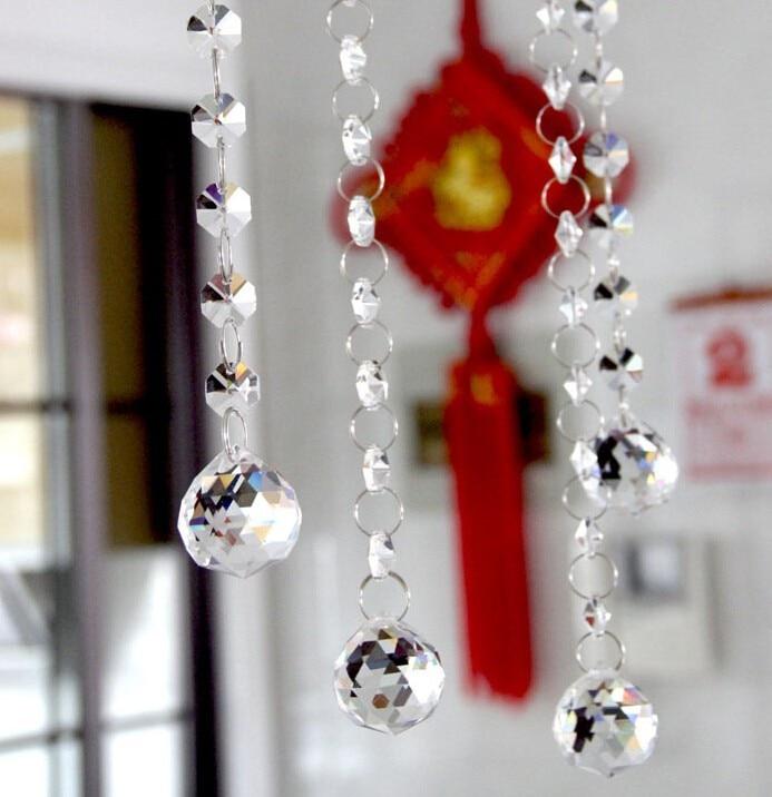 Здесь продается  20meter (1meter/strip) Crystal Glass Beads Strands with Faceted Ball crystal chandelier hanging decoration  Свет и освещение