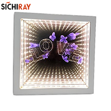 Home Living Decoration gift  Incredible Infinite 3D Flower Frame Mirror infinity mirror led tunnel extension effects