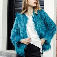 Женское пушистое теплое пальто с длинным рукавом и круглым вырезом; сезон осень-зима; пальто; куртка без воротника; большие размеры 3XL