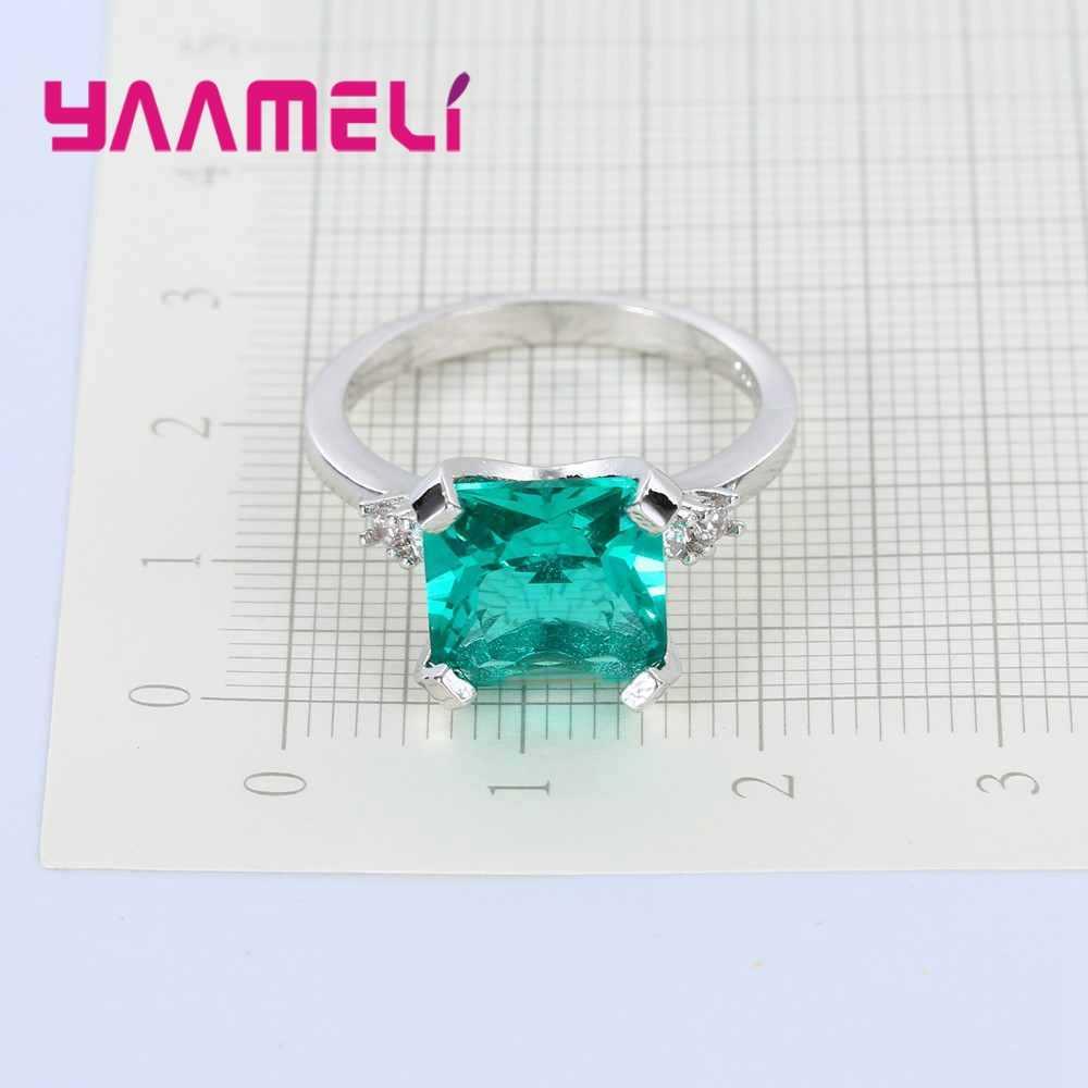 Nowy zielony Cubic cyrkon plac kamień pierścień luksusowe 925 Sterling srebrny kryształ biżuteria dla kobiet kobieta Wedding Party