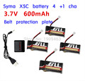 X4 Battery Charger With 4x 3.7V 600mAh 25C Upgrade Lipo Battery For Syma X5-15 X5C X5SC/W H5C RC Quadcopter Battery Parts