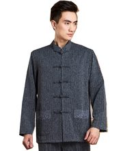 Shanghai Story Chinese tunic suit for Man Blend Cotton Chinese Traditional Clothing Long Sleeve Chinese Shirt 3 Color(China)