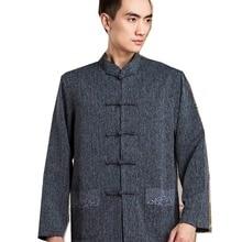 3afd39396c65 Shanghai Storia Cinese tunica vestito per Uomo Misto Cotone Cinese  Tradizionale Abbigliamento Manica Lunga Camicia Cinese