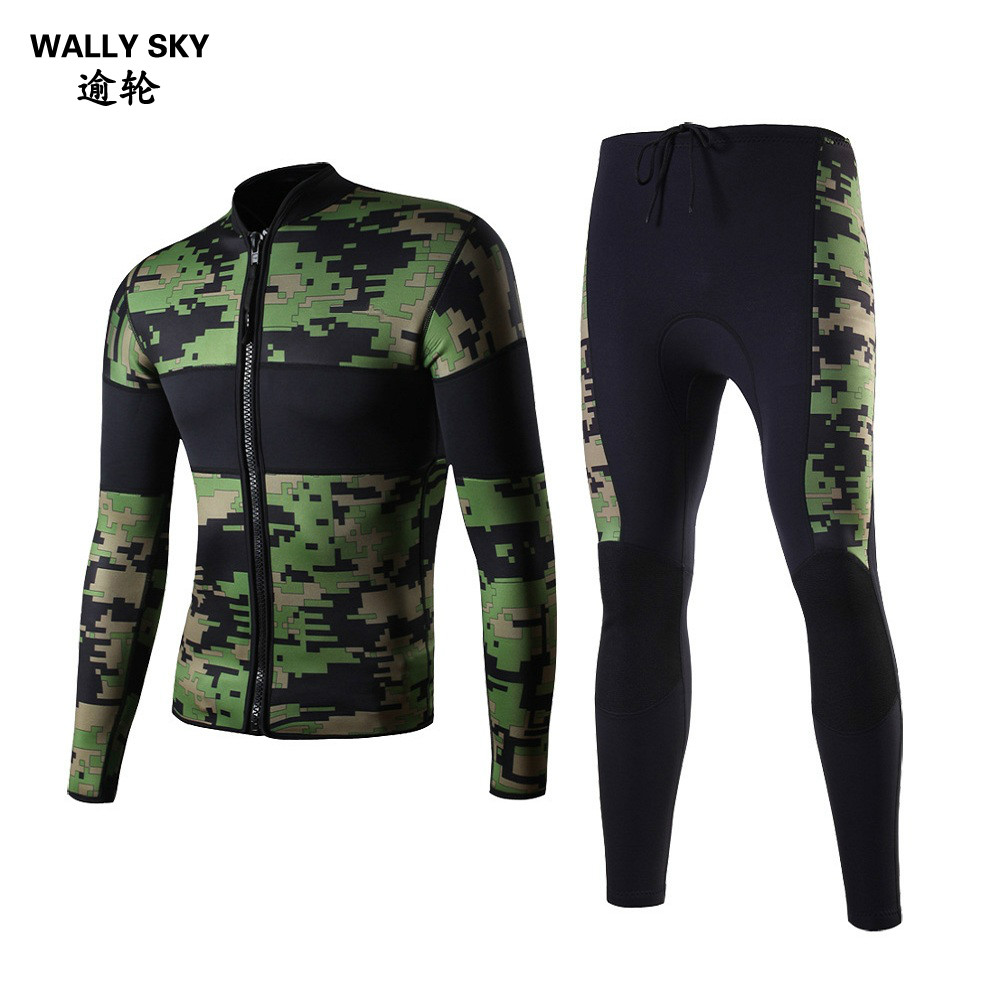 Camo 2.5mm Long Sleeve Men Neoprene  Wetsuit Diving Suit Snorkeling Surfing Wetsuit Scuba Diving  Suit for Men Thermal Wetsuits lifurious wetsuits women surfing neoprene surf swimsuit wetsuit for swimming women pink swimwear surfing diving suit long sleeve